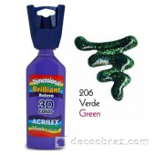 3D контур акриловый с глиттером ACRILEX 35мл 12212.0206 зеленый
