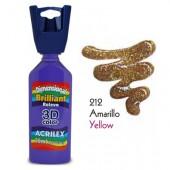 3D контур акриловый с глиттером ACRILEX 35мл 12212.0212 желтый