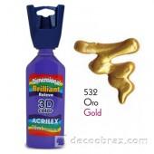 3D контур акриловый металлик ACRILEX 35мл 12312.0532 золото