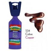 3D контур акриловый металлик ACRILEX 35мл 12312.0534 медь