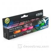 Набор неоновых акриловых красок из 6 цветов (6х10ml)