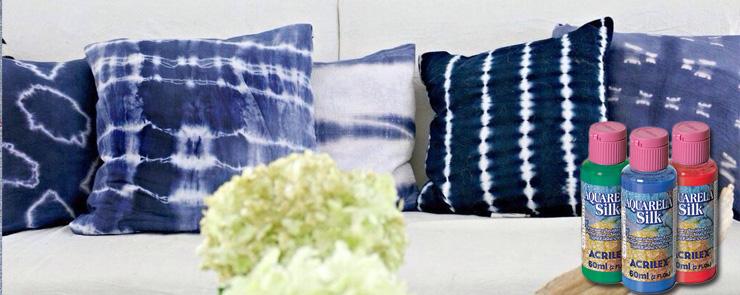 Декорируем наволочки с красками Aquarela silk