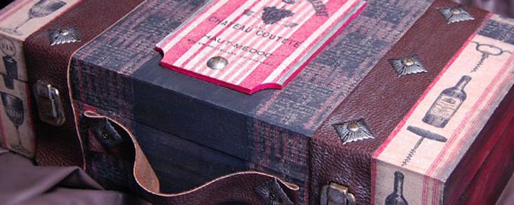 Винтажный винный чемодан