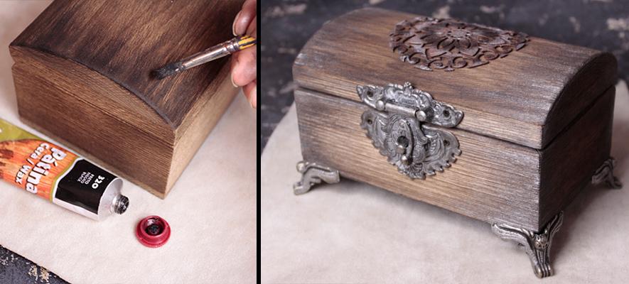 Браширование шкатулки с кожаным элементом
